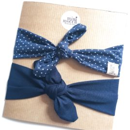 "Dotted/ Navy Blue  ""Headband set"""